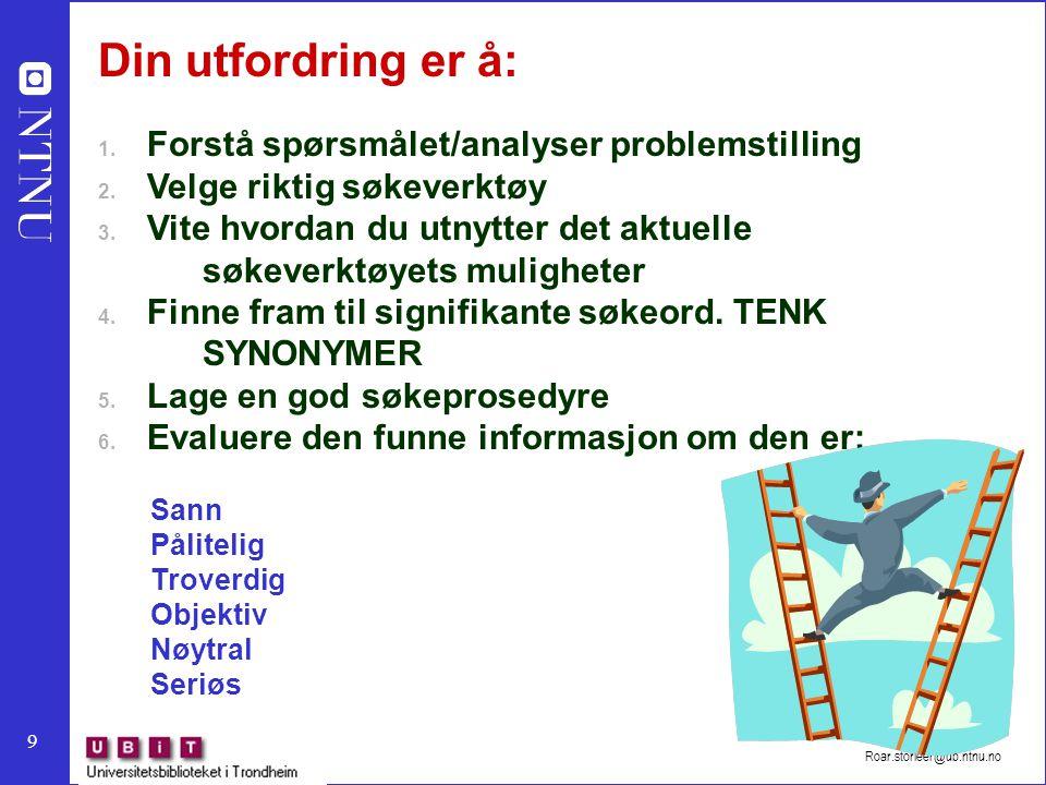 Din utfordring er å: Forstå spørsmålet/analyser problemstilling