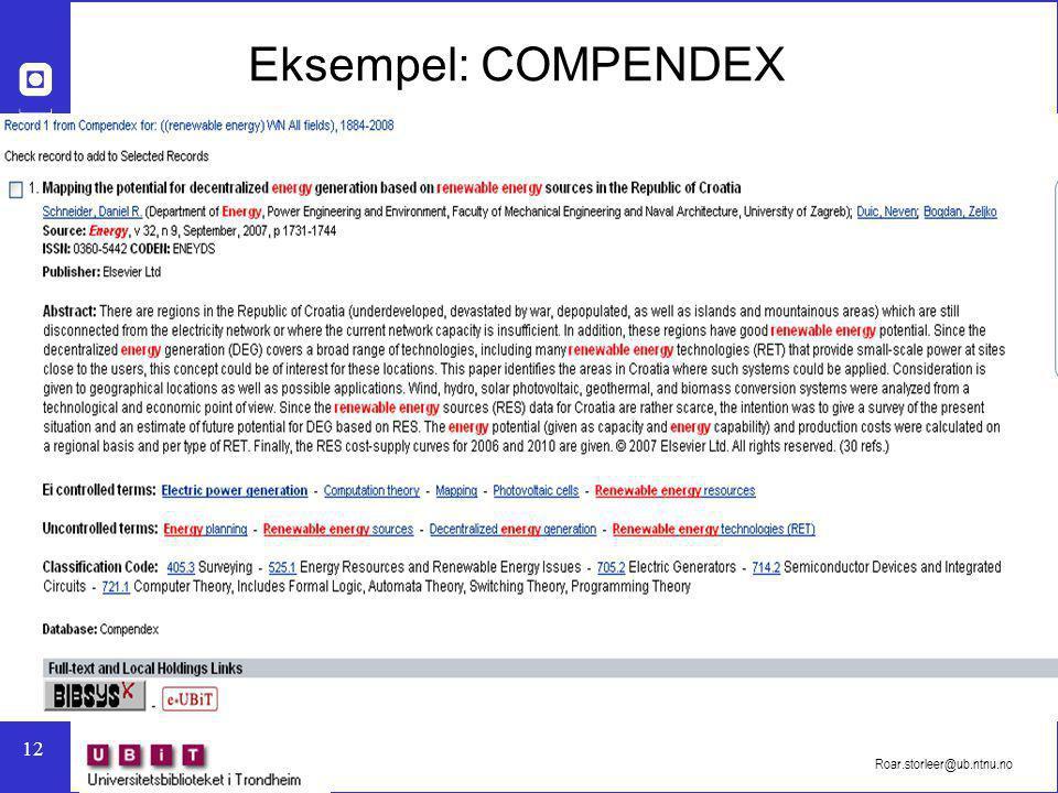 Eksempel: COMPENDEX Roar.storleer@ub.ntnu.no
