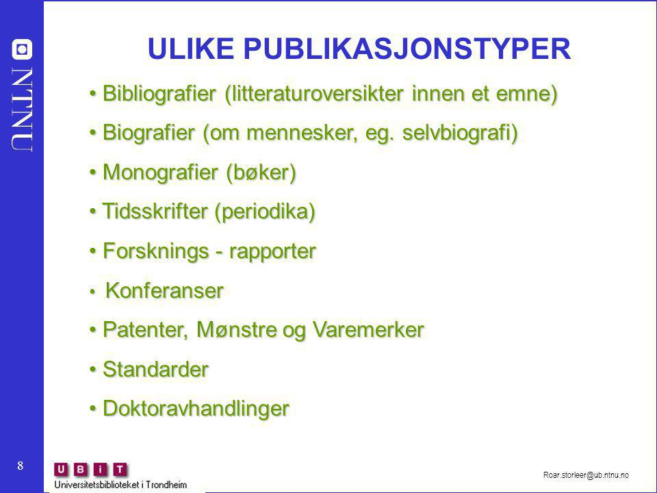 ULIKE PUBLIKASJONSTYPER