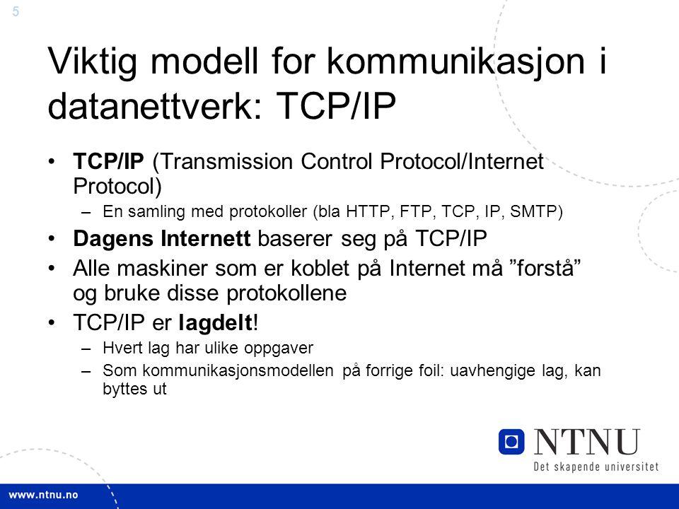 Viktig modell for kommunikasjon i datanettverk: TCP/IP