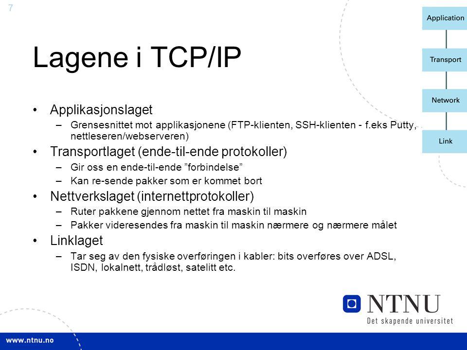 Lagene i TCP/IP Applikasjonslaget