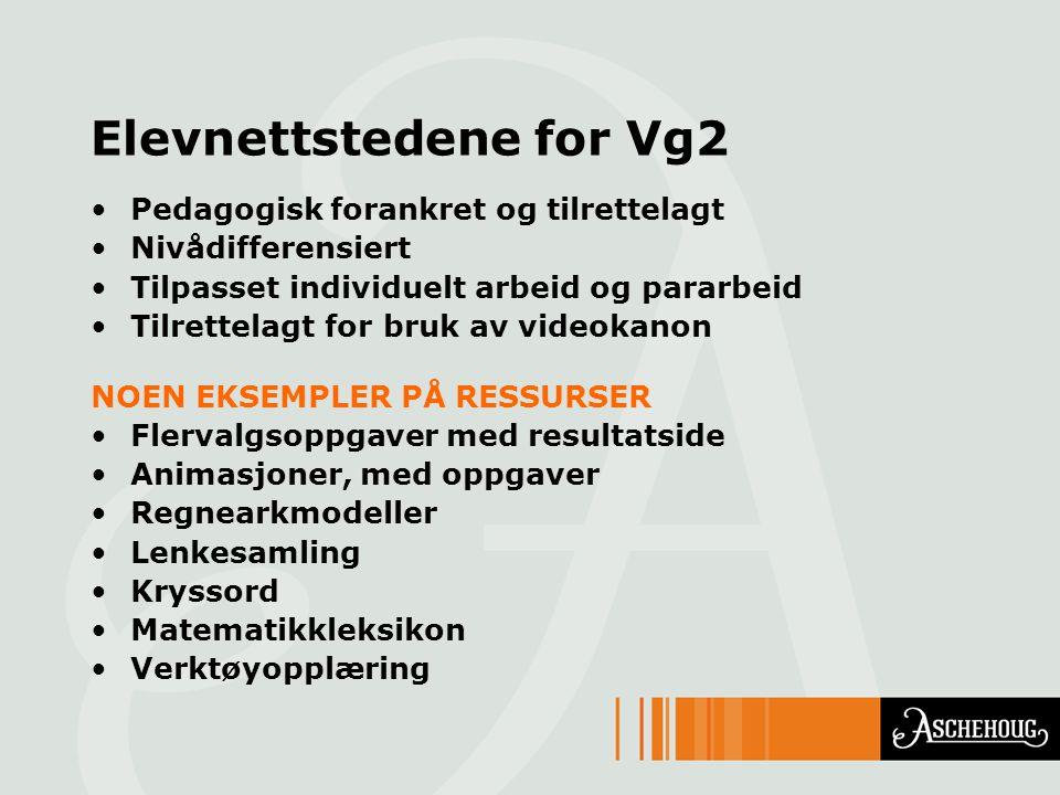 Elevnettstedene for Vg2