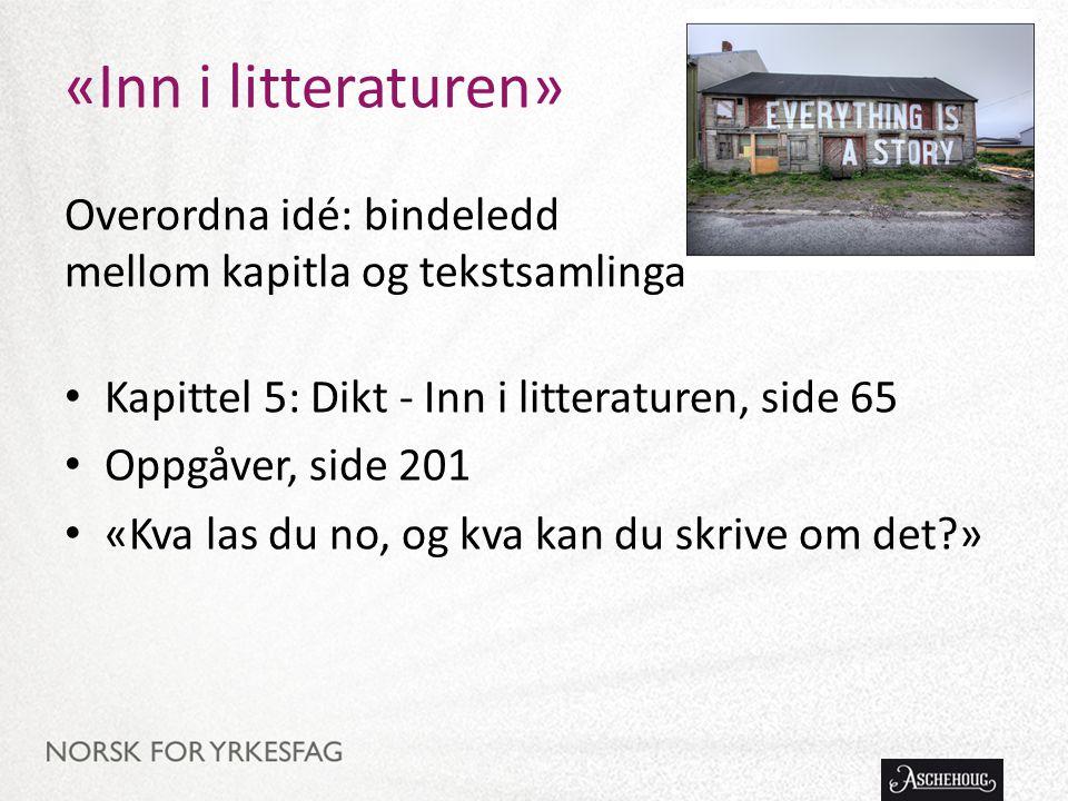 «Inn i litteraturen» Overordna idé: bindeledd mellom kapitla og tekstsamlinga. Kapittel 5: Dikt - Inn i litteraturen, side 65.