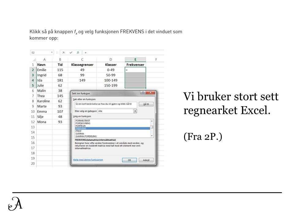 Vi bruker stort sett regnearket Excel. (Fra 2P.)