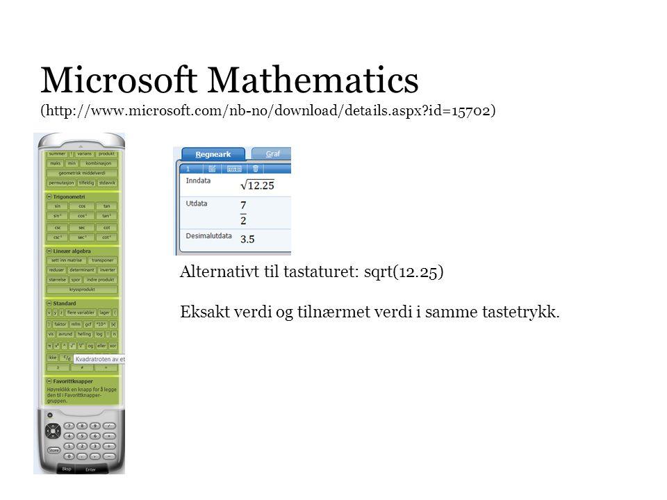 Microsoft Mathematics (http://www. microsoft
