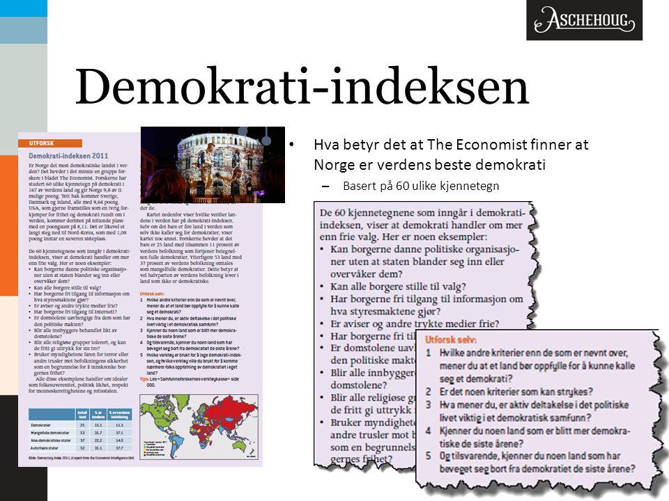 Demokrati-indeksen Hva betyr det at The Economist finner at Norge er verdens beste demokrati.