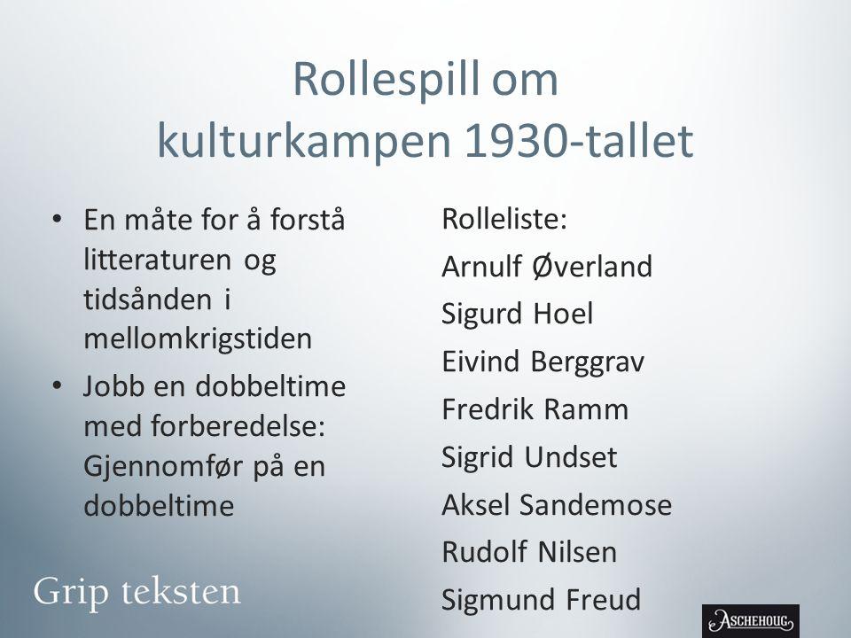 Rollespill om kulturkampen 1930-tallet