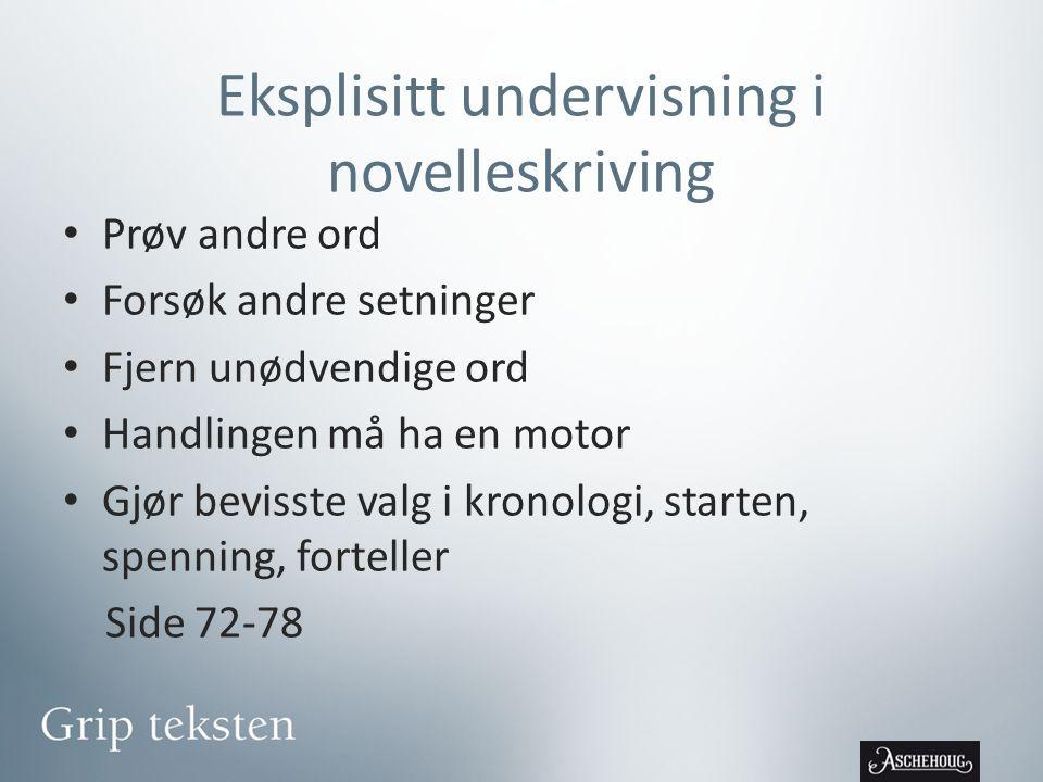 Eksplisitt undervisning i novelleskriving