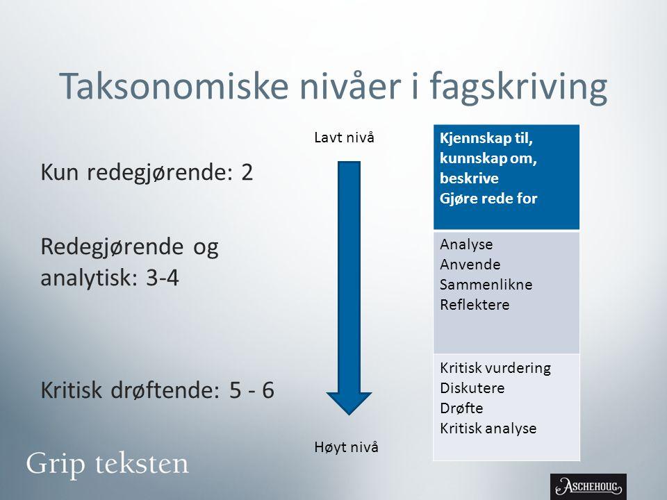 Taksonomiske nivåer i fagskriving