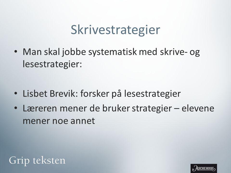 Skrivestrategier Man skal jobbe systematisk med skrive- og lesestrategier: Lisbet Brevik: forsker på lesestrategier.