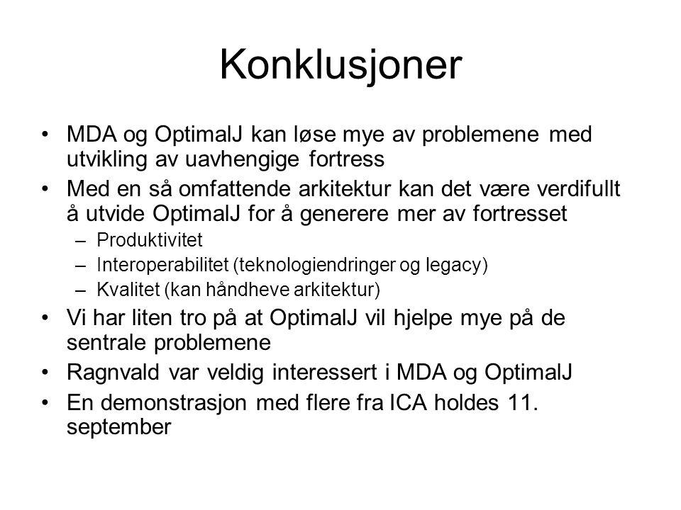 Konklusjoner MDA og OptimalJ kan løse mye av problemene med utvikling av uavhengige fortress.