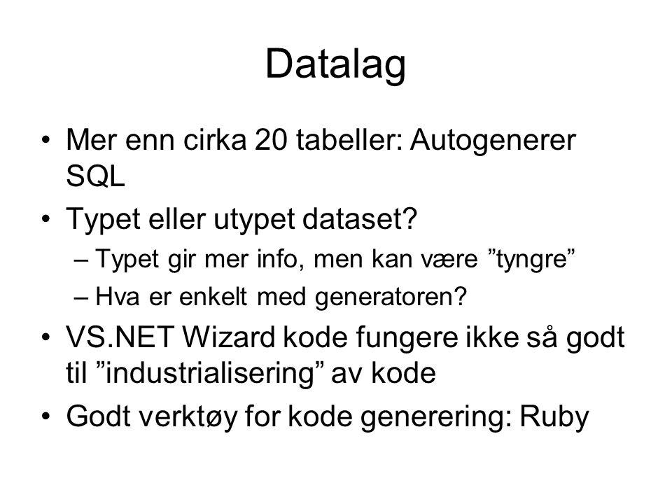 Datalag Mer enn cirka 20 tabeller: Autogenerer SQL