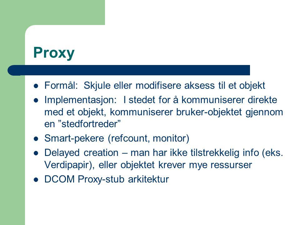 Proxy Formål: Skjule eller modifisere aksess til et objekt