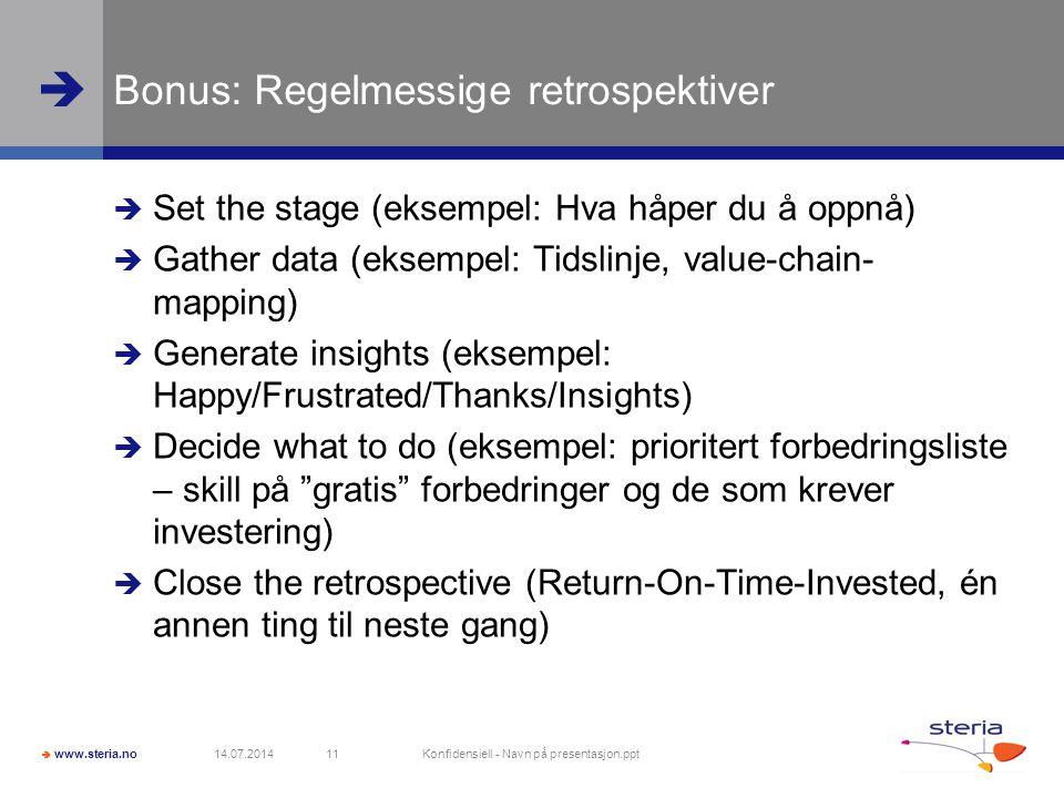 Bonus: Regelmessige retrospektiver