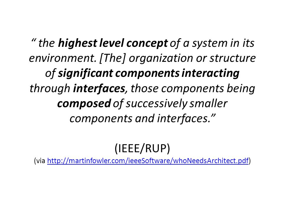 the highest level concept of a system in its environment