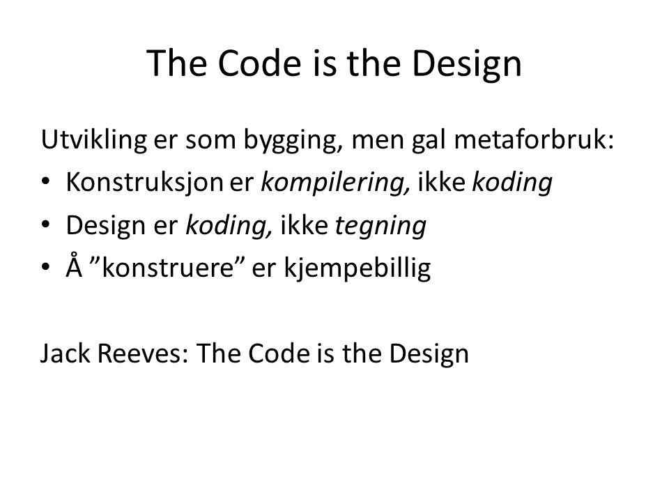 The Code is the Design Utvikling er som bygging, men gal metaforbruk: