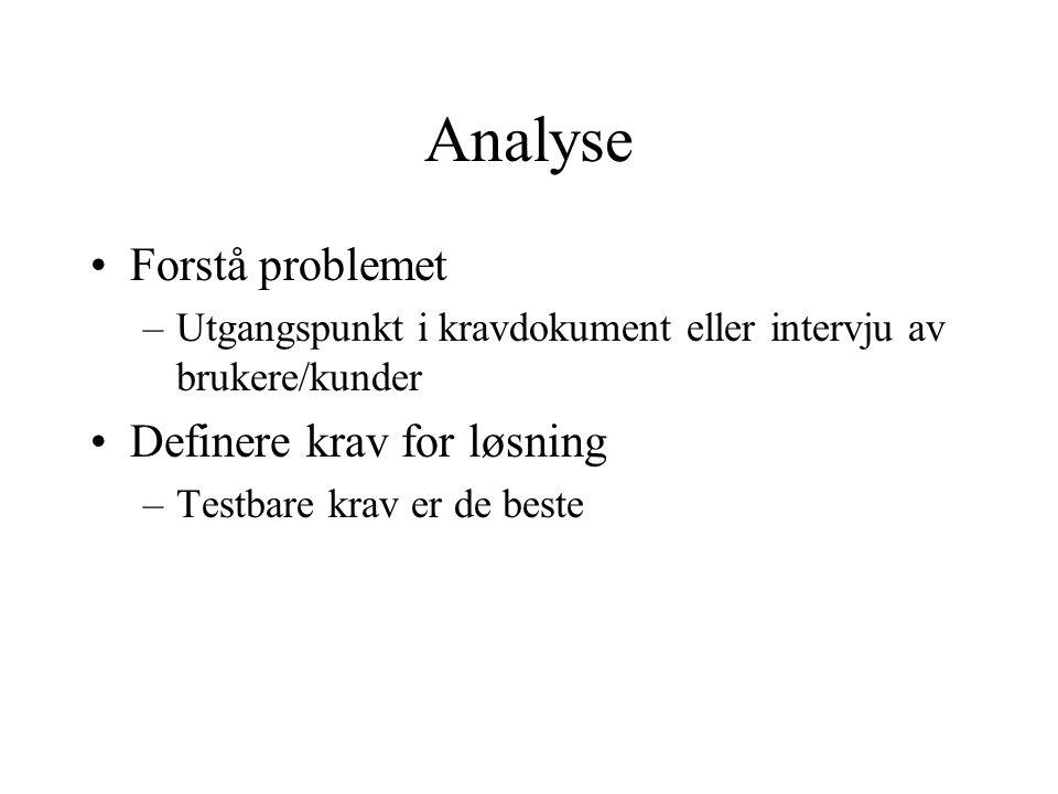 Analyse Forstå problemet Definere krav for løsning