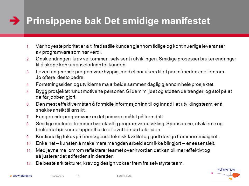 Prinsippene bak Det smidige manifestet