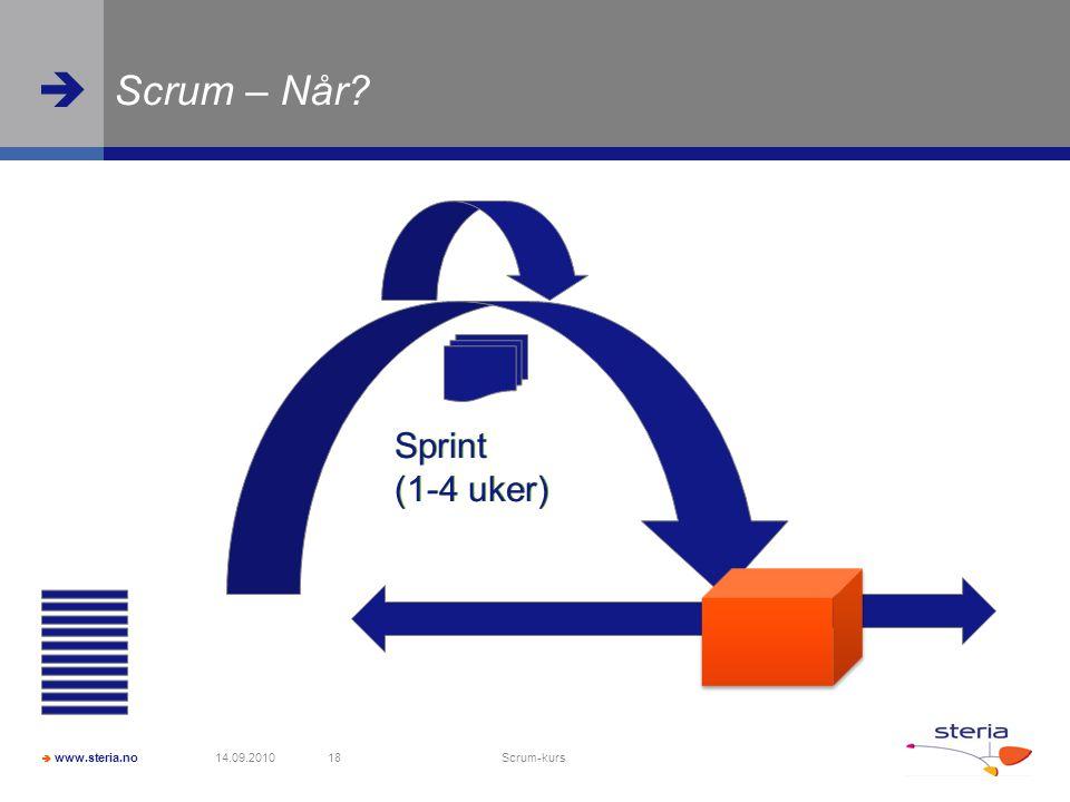 Scrum – Når Sprint (1-4 uker) Sprint (1-4 uker)