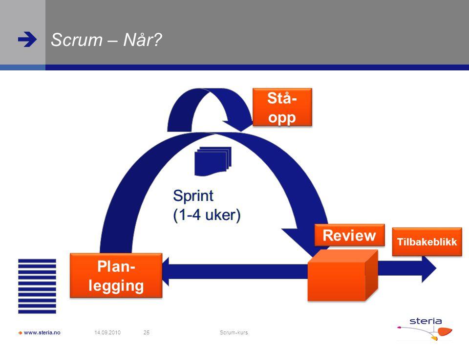 Scrum – Når Stå- opp Sprint (1-4 uker) Sprint (1-4 uker) Review