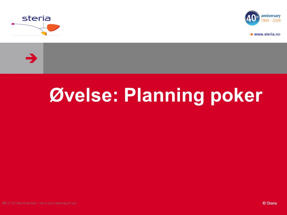 Øvelse: Planning poker