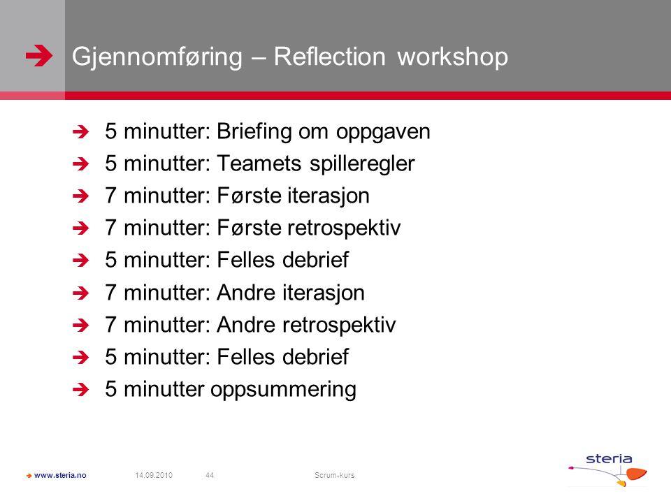 Gjennomføring – Reflection workshop