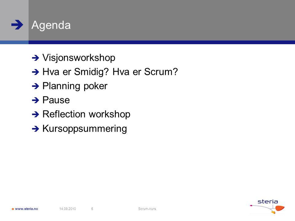 Agenda Visjonsworkshop Hva er Smidig Hva er Scrum Planning poker
