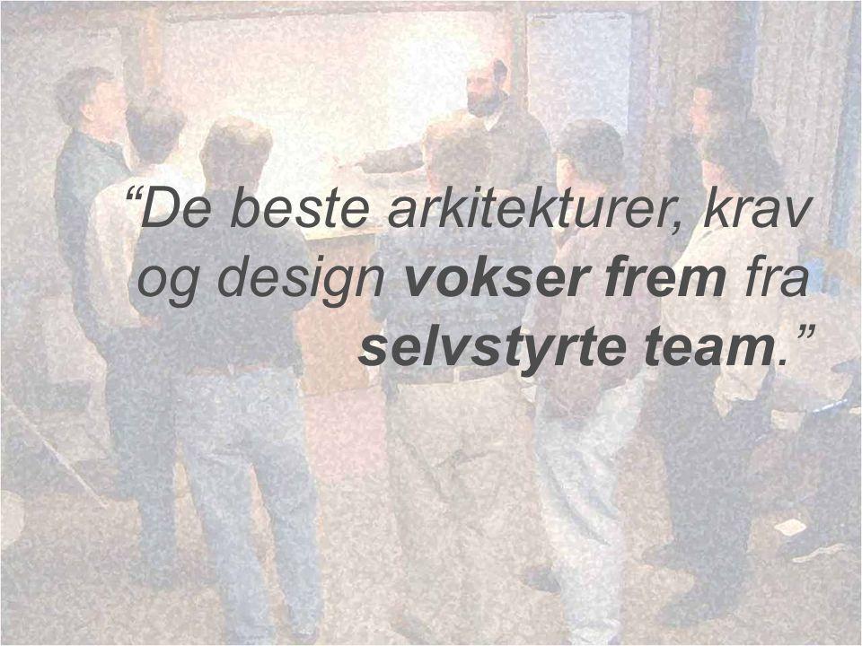 De beste arkitekturer, krav og design vokser frem fra selvstyrte team