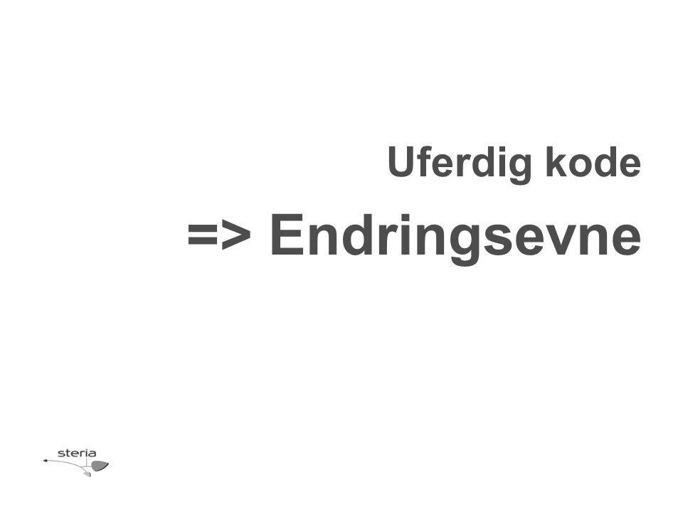 Uferdig kode => Endringsevne