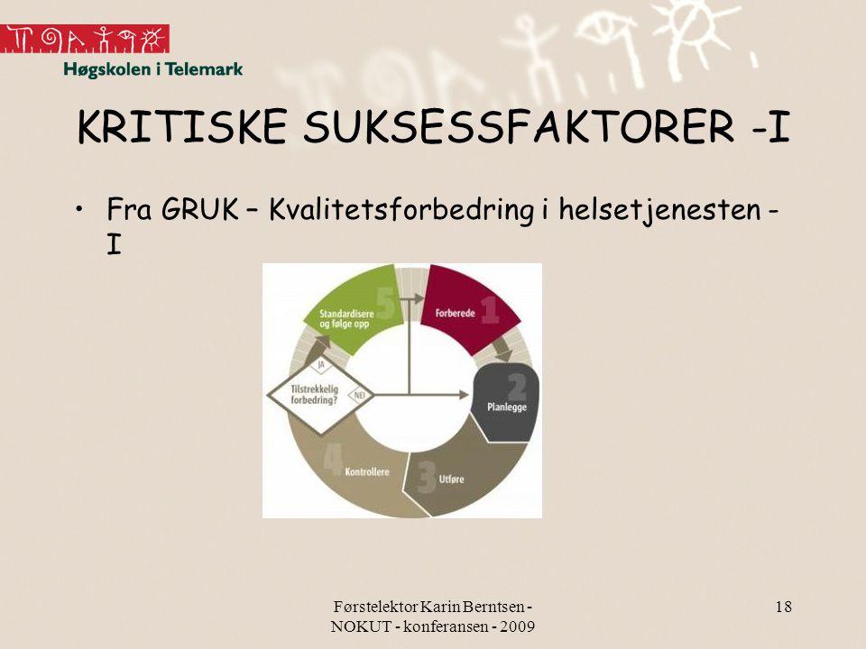 KRITISKE SUKSESSFAKTORER -I