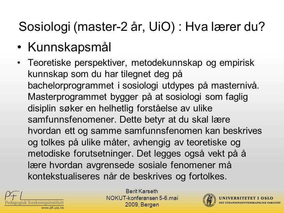 Sosiologi (master-2 år, UiO) : Hva lærer du