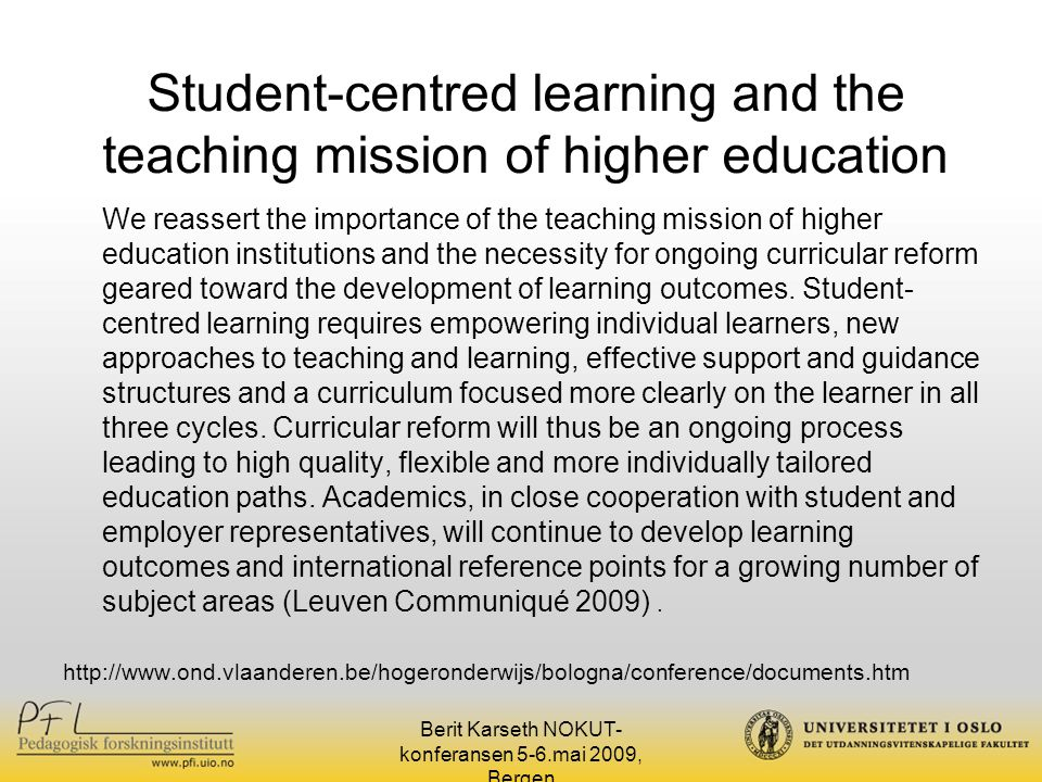 Student-centred learning and the teaching mission of higher education