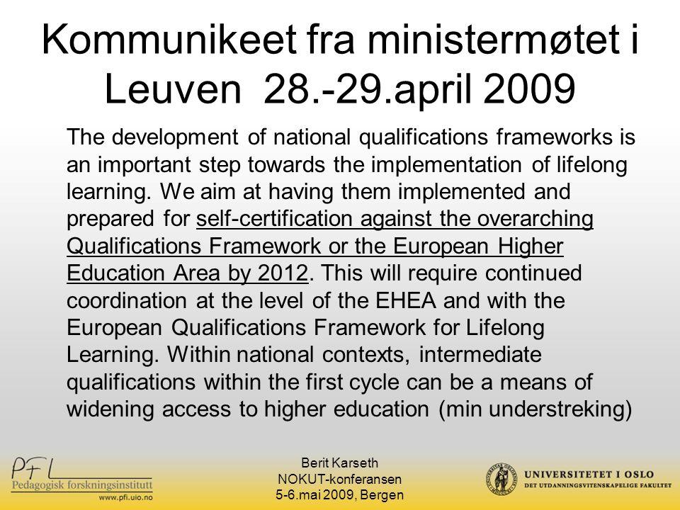 Kommunikeet fra ministermøtet i Leuven 28.-29.april 2009