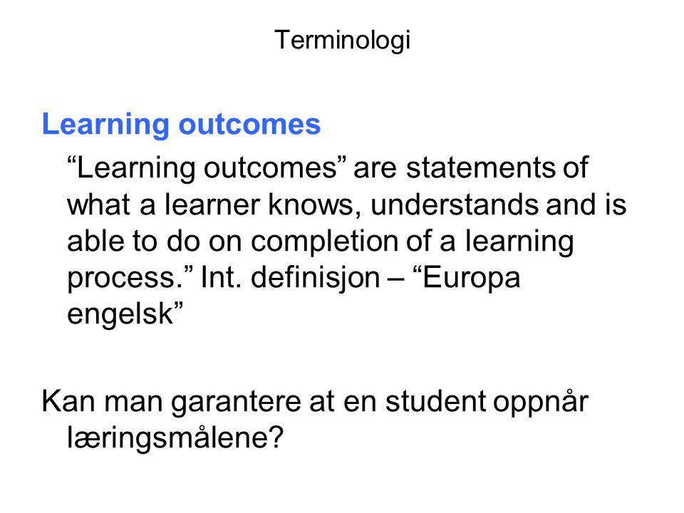 Kan man garantere at en student oppnår læringsmålene