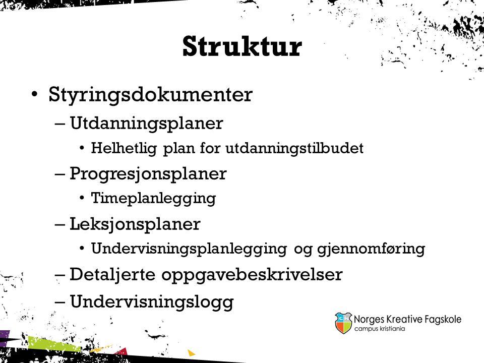 Struktur Styringsdokumenter Utdanningsplaner Progresjonsplaner