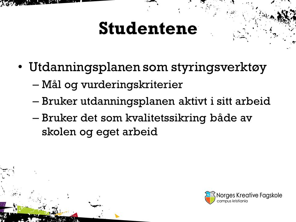 Studentene Utdanningsplanen som styringsverktøy