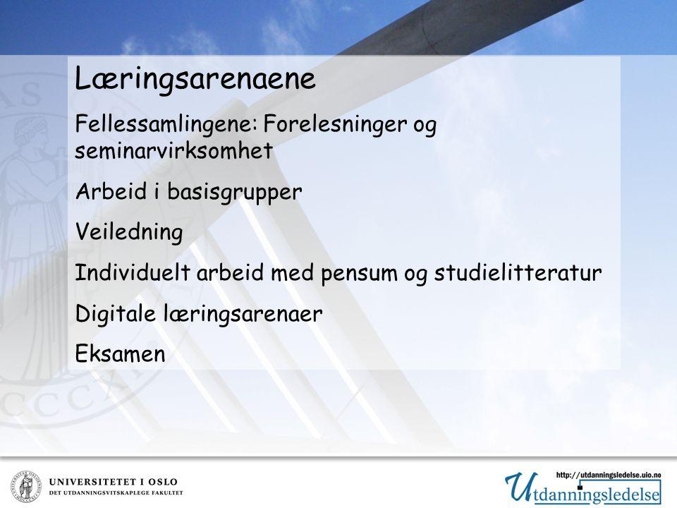 Læringsarenaene Fellessamlingene: Forelesninger og seminarvirksomhet