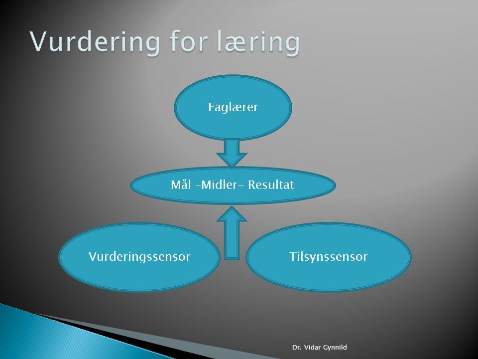 Vurdering for læring Faglærer Mål –Midler- Resultat Vurderingssensor