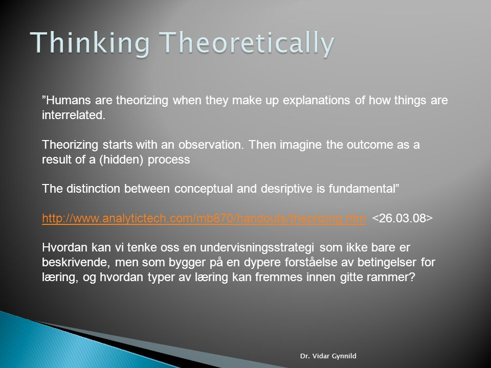 Thinking Theoretically