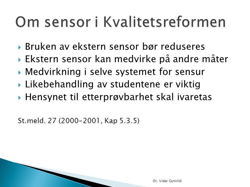 Om sensor i Kvalitetsreformen