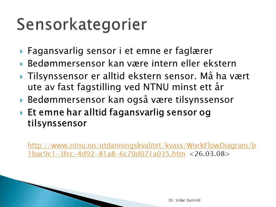 Sensorkategorier Fagansvarlig sensor i et emne er faglærer