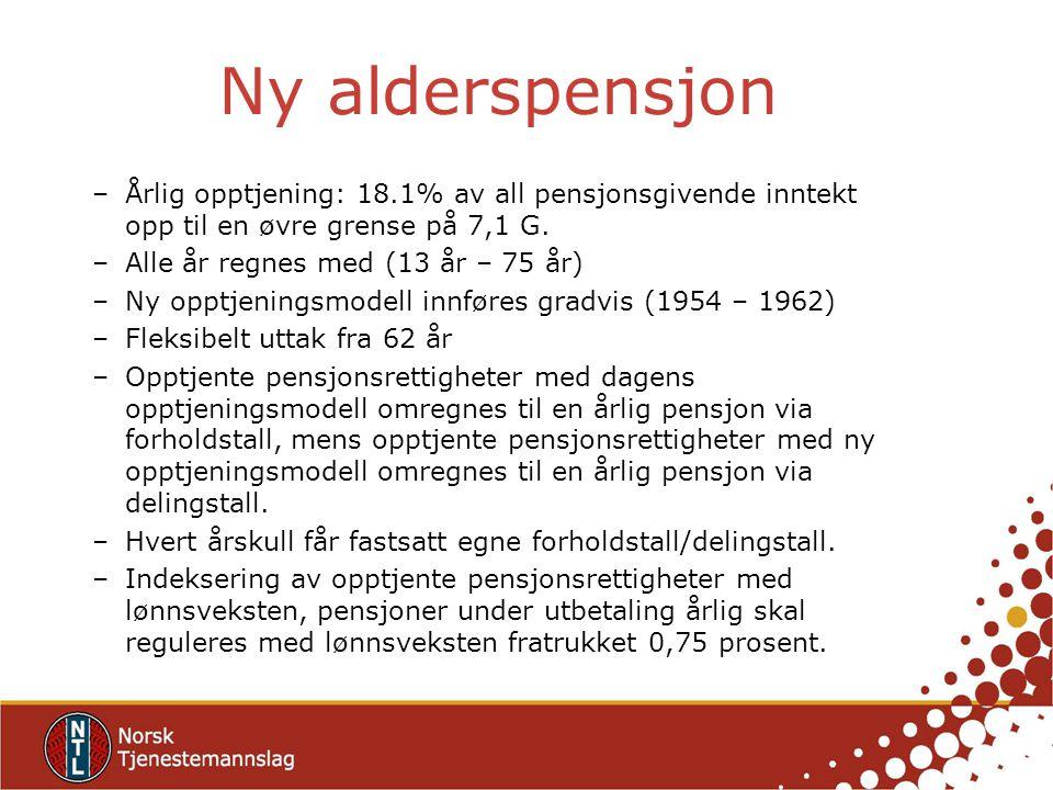 Ny alderspensjon Årlig opptjening: 18.1% av all pensjonsgivende inntekt opp til en øvre grense på 7,1 G.
