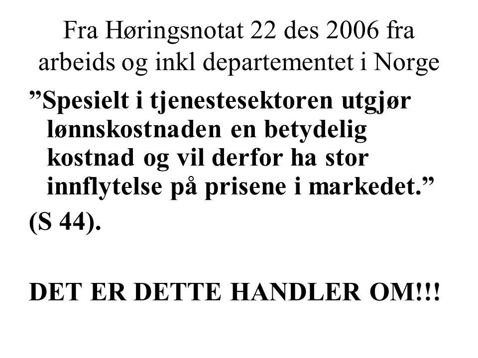 Fra Høringsnotat 22 des 2006 fra arbeids og inkl departementet i Norge