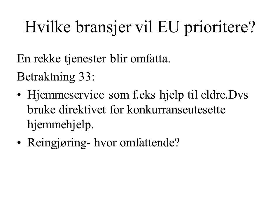 Hvilke bransjer vil EU prioritere