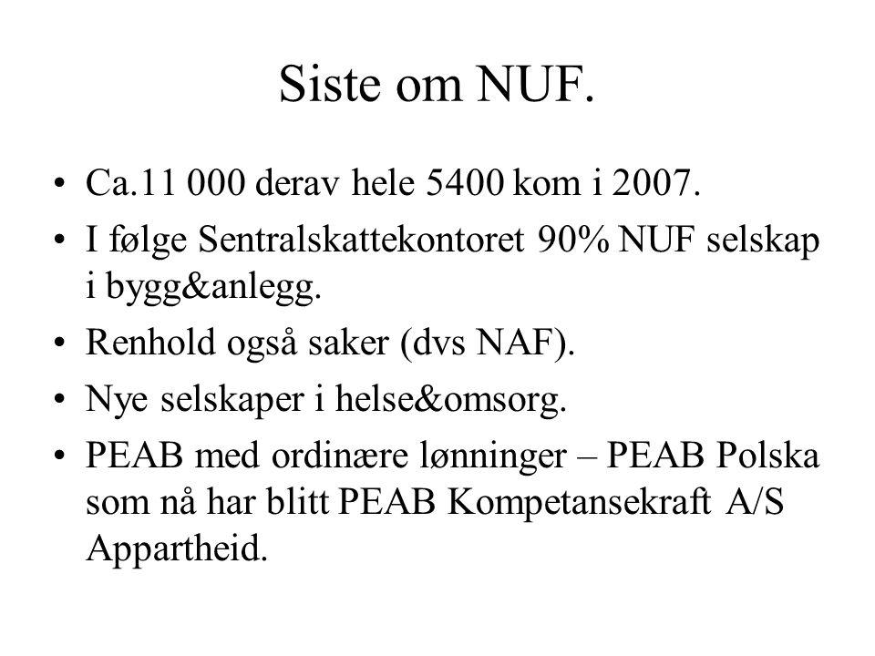 Siste om NUF. Ca.11 000 derav hele 5400 kom i 2007.