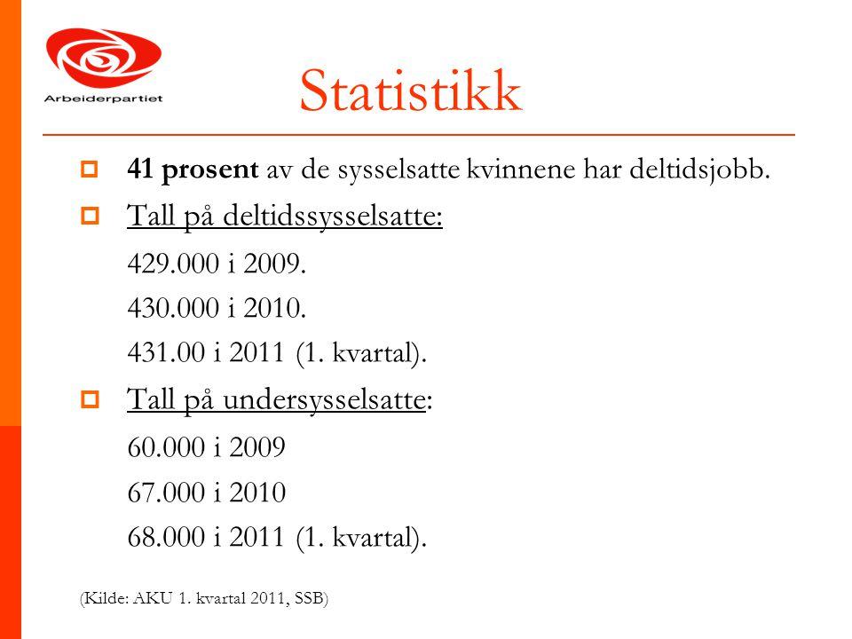Statistikk Tall på deltidssysselsatte: 429.000 i 2009.