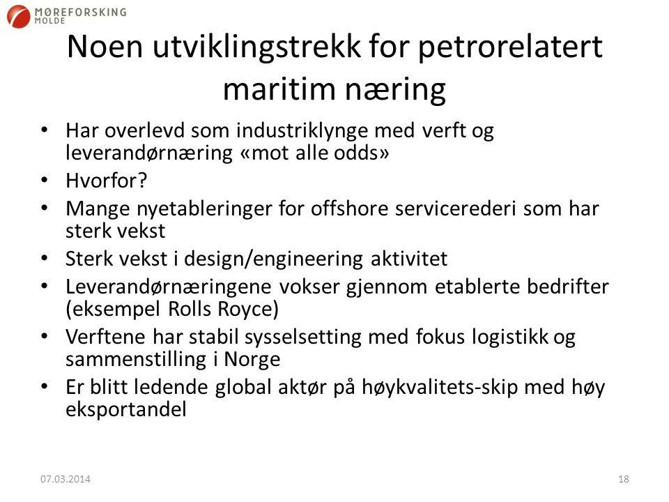 Noen utviklingstrekk for petrorelatert maritim næring