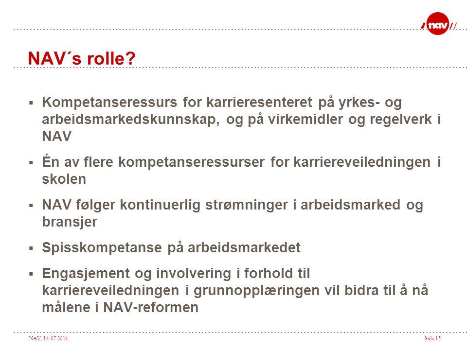 NAV´s rolle Kompetanseressurs for karrieresenteret på yrkes- og arbeidsmarkedskunnskap, og på virkemidler og regelverk i NAV.