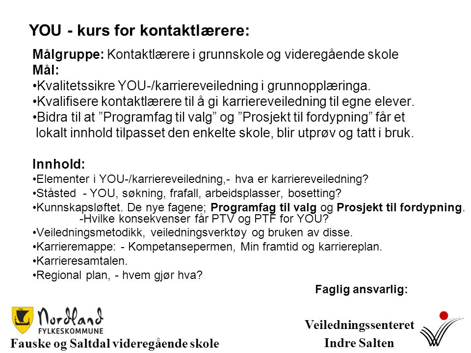 YOU - kurs for kontaktlærere: