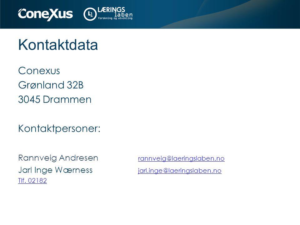 Kontaktdata Conexus Grønland 32B 3045 Drammen Kontaktpersoner: